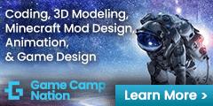 Game Camp Nation 240×120 Game Design ad