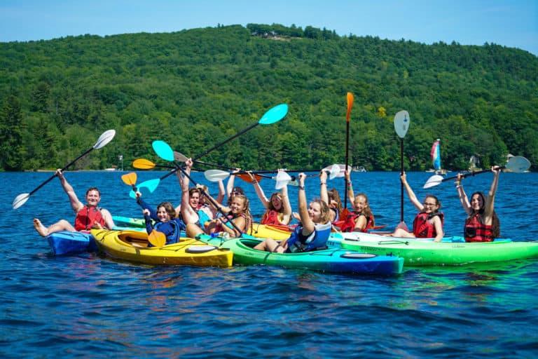MCE Campers Kayaking on Maine Lake 768x512